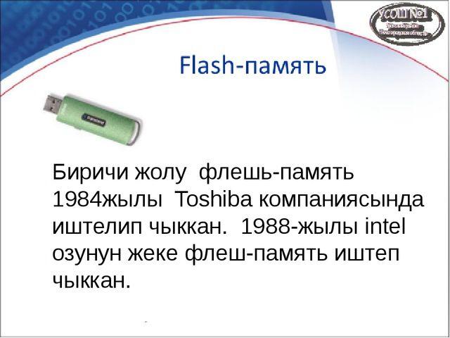 Биричи жолу флешь-память 1984жылы Toshiba компаниясында иштелип чыккан. 1988-...