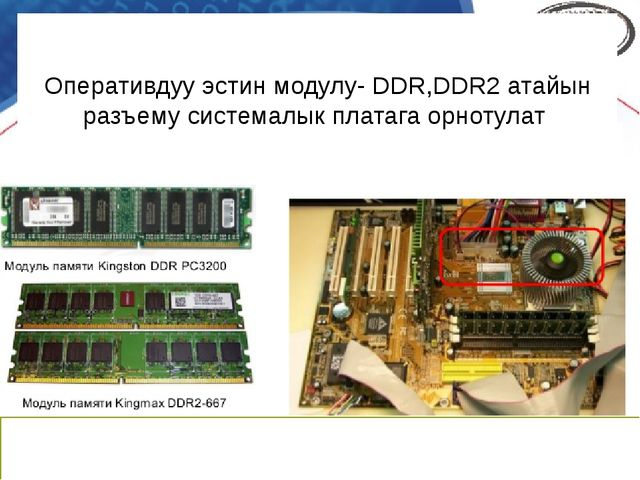 Оперативдуу эстин модулу- DDR,DDR2 атайын разъему системалык платага орнотулат