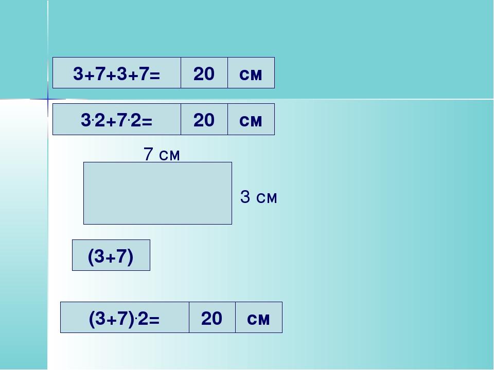3+7+3+7= 3.2+7.2= 20 см 20 см (3+7).2= 20 см 7 см 3 см (3+7)