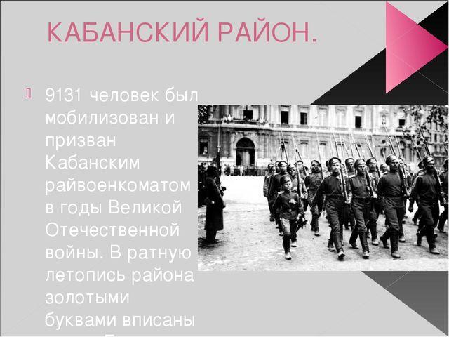 КАБАНСКИЙ РАЙОН. 9131 человек был мобилизован и призван Кабанским райвоенкома...