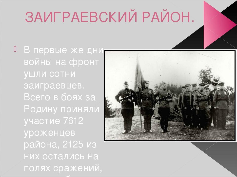 ЗАИГРАЕВСКИЙ РАЙОН. В первые же дни войны на фронт ушли сотни заиграевцев. Вс...