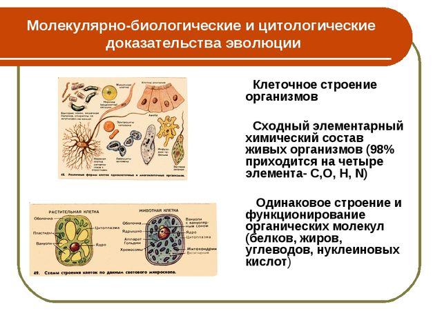 Молекулярно-биологические и цитологические доказательства эволюции Клеточное...