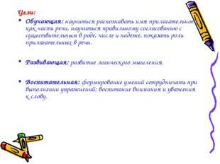 Цели: Обучающая: научиться распознавать имя прилагательное как часть речи, на