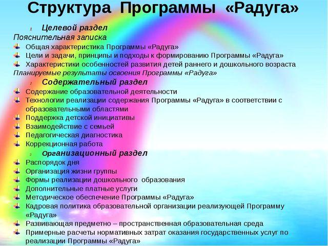 Структура Программы «Радуга» Целевой раздел Пояснительная записка Общая харак...