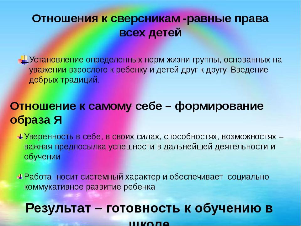 Отношения к сверсникам -равные права всех детей Установление определенных нор...