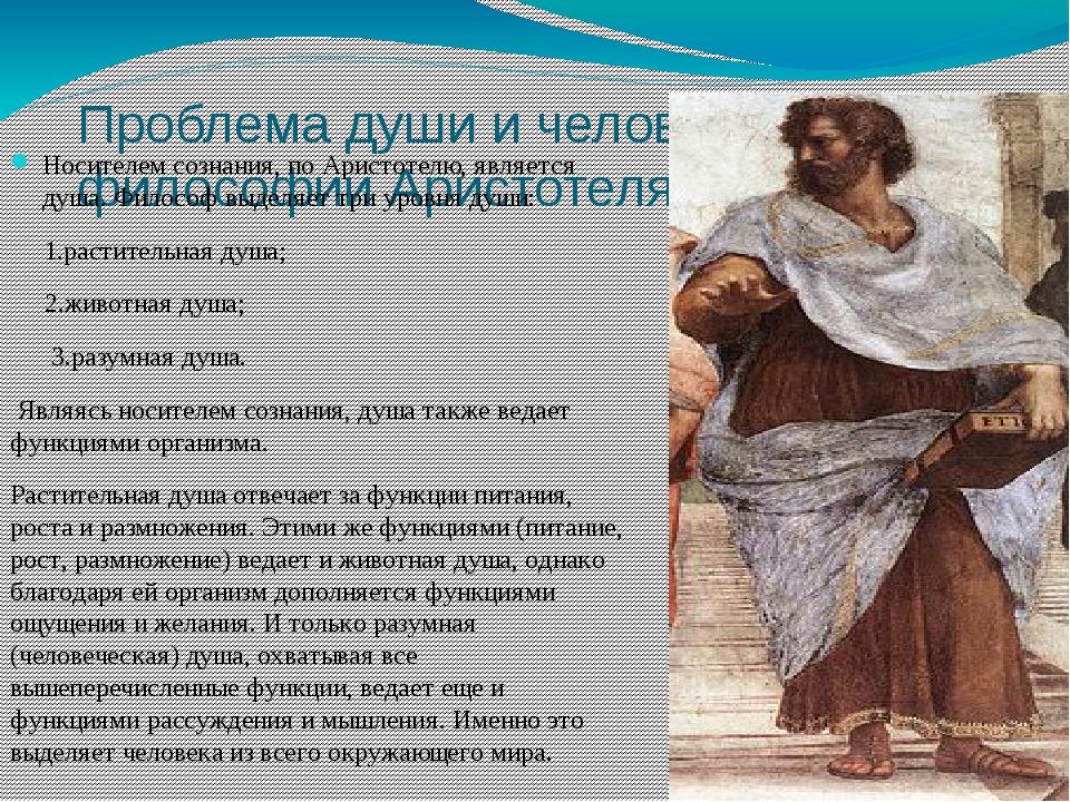 Проблема души и человека в философии Аристотеля Носителем сознания, по Аристо...