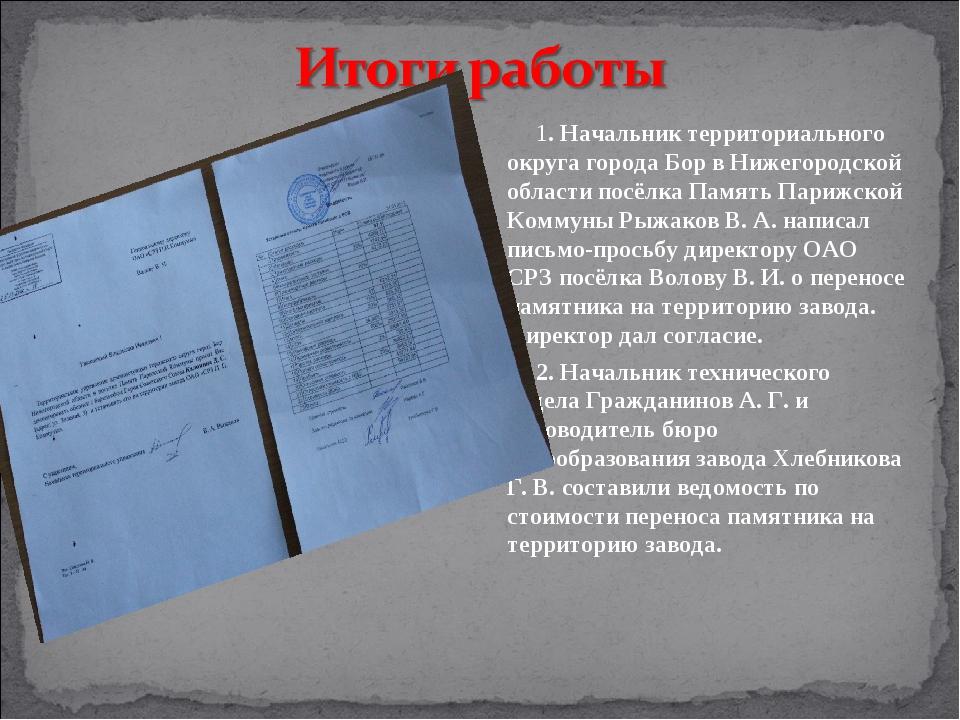 1. Начальник территориального округа города Бор в Нижегородской области посёл...