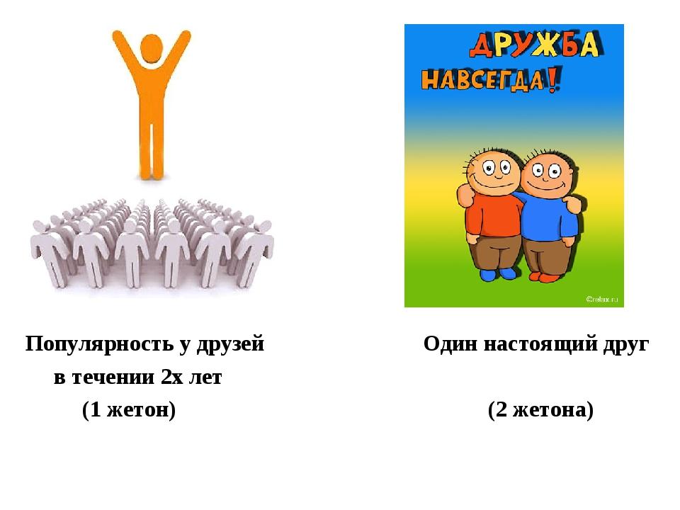 Популярность у друзей Один настоящий друг в течении 2х лет (1 жетон) (2 жетона)