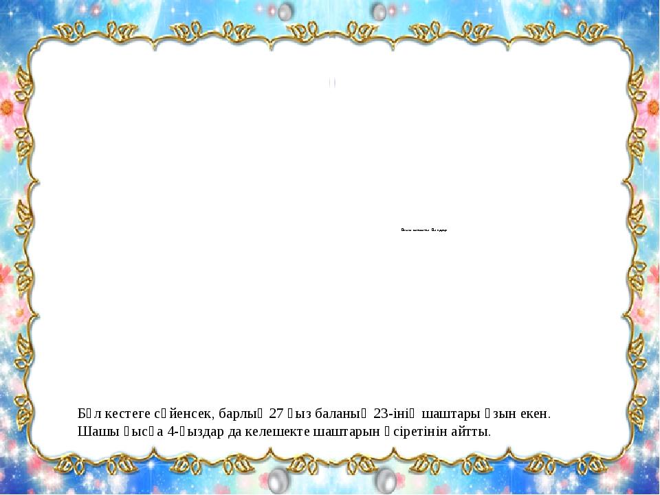 Бұл кестеге сүйенсек, барлық 27 қыз баланың 23-інің шаштары ұзын екен. Шашы қ...