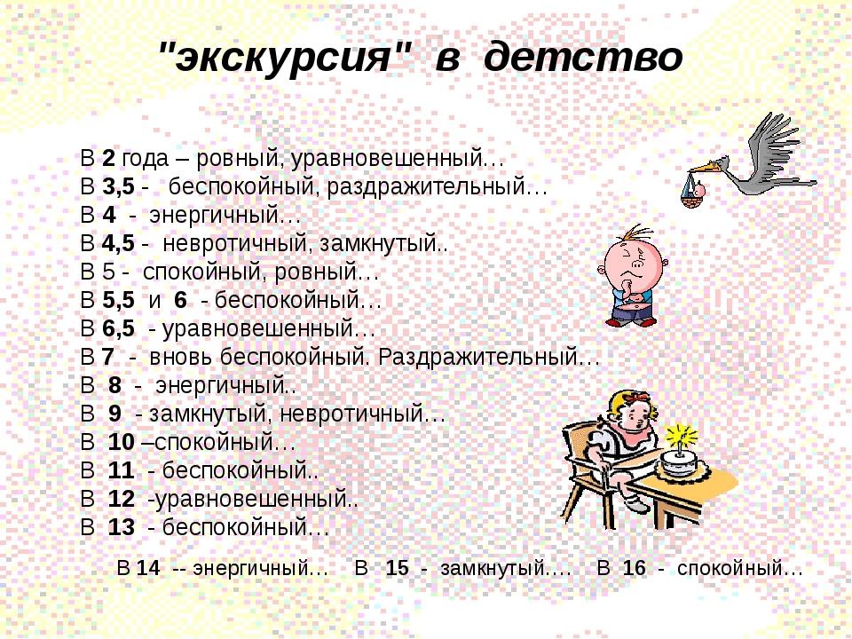 """""""экскурсия"""" в детство В 2 года – ровный, уравновешенный… В 3,5 - беспокойный,..."""