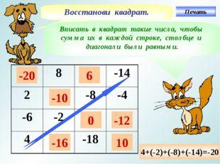 Восстанови квадрат. Вписать в квадрат такие числа, чтобы сумма их в каждой ст