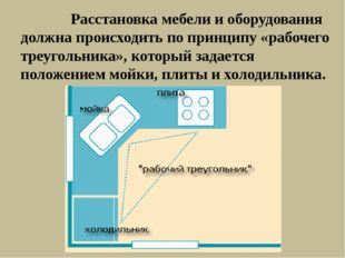Расстановка мебели и оборудования должна происходить по принципу «рабочего т