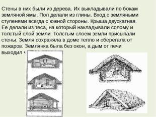 Стены в них были из дерева. Их выкладывали по бокам земляной ямы. Пол делали