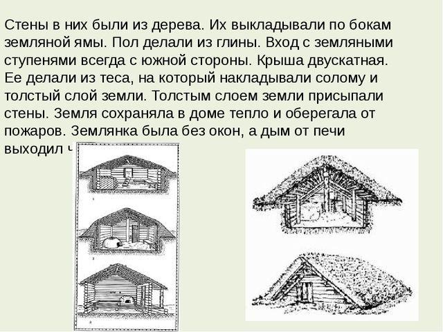 Стены в них были из дерева. Их выкладывали по бокам земляной ямы. Пол делали...