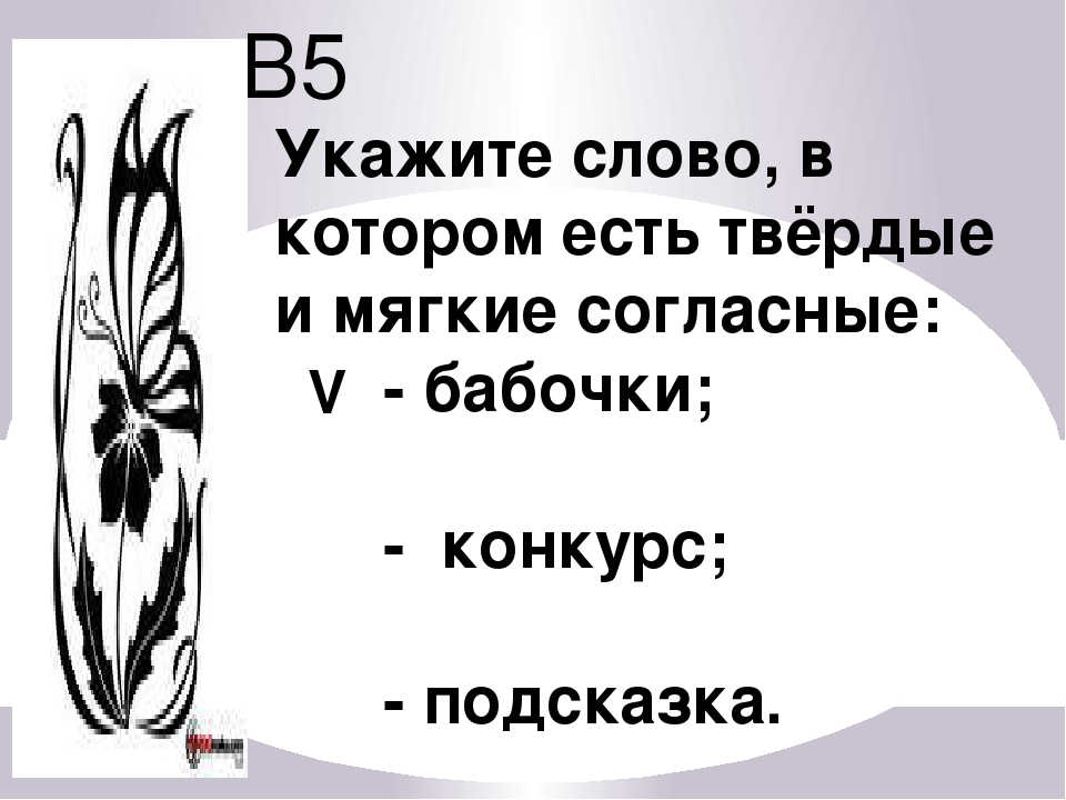 В5 Укажите слово, в котором есть твёрдые и мягкие согласные: - бабочки; - кон...