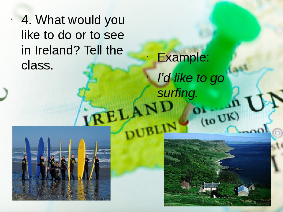4. What would you like to do or to see in Ireland? Tell the class. Example: I...