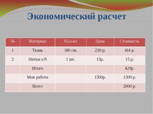 Экономический расчет № Материал Кол-во Цена Стоимость 1 Ткань 180 см. 230 р.