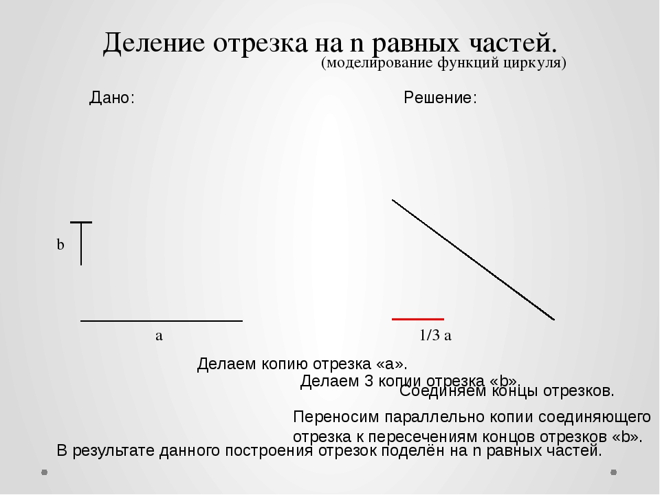 а 1/3 а Дано: Решение: Деление отрезка на n равных частей. Делаем копию отрез...