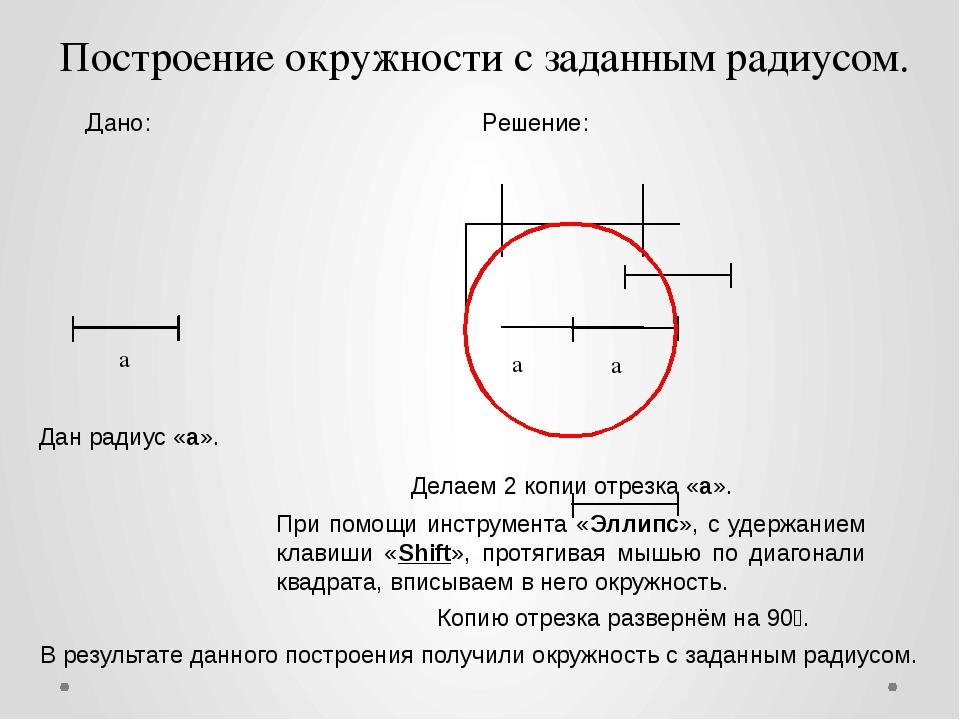 а Дано: а а Решение: Построение окружности с заданным радиусом. Дан радиус «а...
