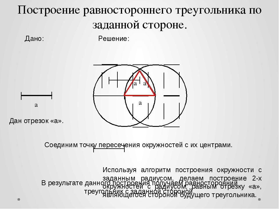 a a a a Дано: Решение: Построение равностороннего треугольника по заданной ст...