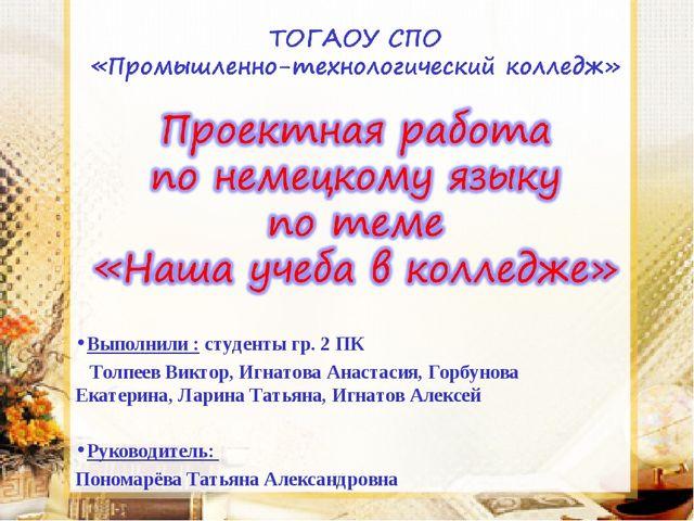 Выполнили : студенты гр. 2 ПК Толпеев Виктор, Игнатова Анастасия, Горбунова Е...