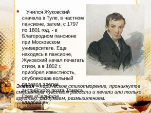 Учился Жуковский сначала в Туле, в частном пансионе, затем, с 1797 по 1801 г