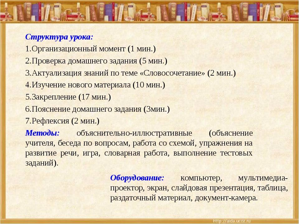 Структура урока: Организационный момент (1 мин.) Проверка домашнего задания (...