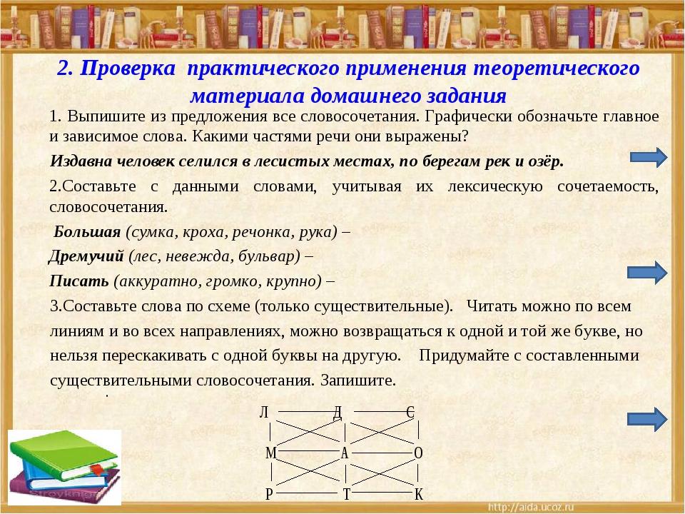 2. Проверка практического применения теоретического материала домашнего задан...