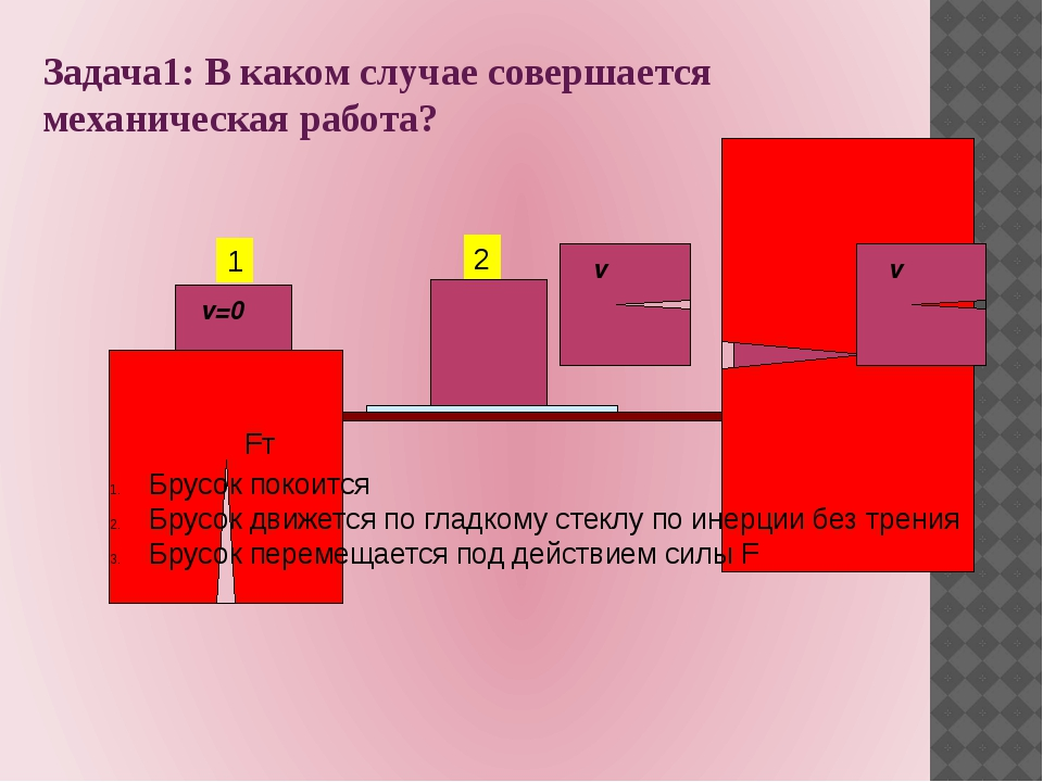 Задача1: В каком случае совершается механическая работа? 1 2 3 Fт F v Брусок...