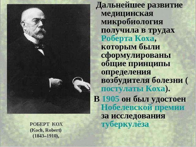 Дальнейшее развитие медицинская микробиология получила в трудах Роберта Коха...