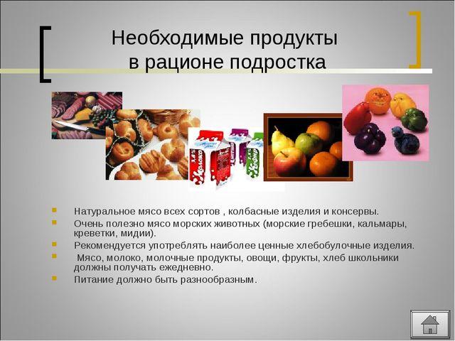 Необходимые продукты в рационе подростка Натуральное мясо всех сортов , колба...