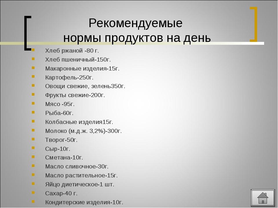 Рекомендуемые нормы продуктов на день Хлеб ржаной -80 г. Хлеб пшеничный-150г....