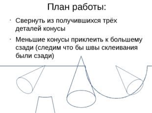 План работы: Свернуть из получившихся трёх деталей конусы Меньшие конусы прик