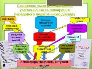 Створення умов для вивчення, узагальнення та поширення передового педагогічно