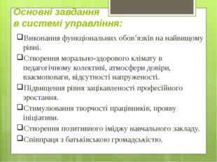 Основнi завдання в системі управління: Виконання функціональних обов'язків на