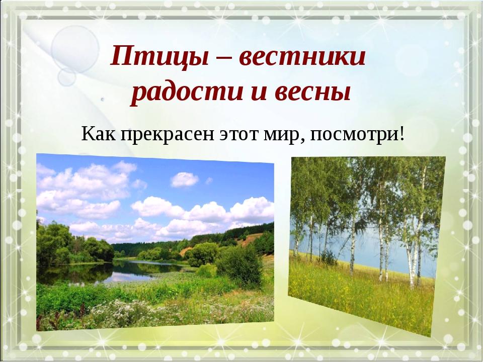 Птицы – вестники радости и весны Как прекрасен этот мир, посмотри!