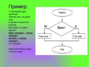 Пример: У лукоморья дуб зеленый, Златая цепь на дубе том, И днем и ночью кот
