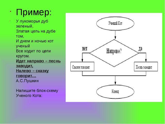 Пример: У лукоморья дуб зеленый, Златая цепь на дубе том, И днем и ночью кот...