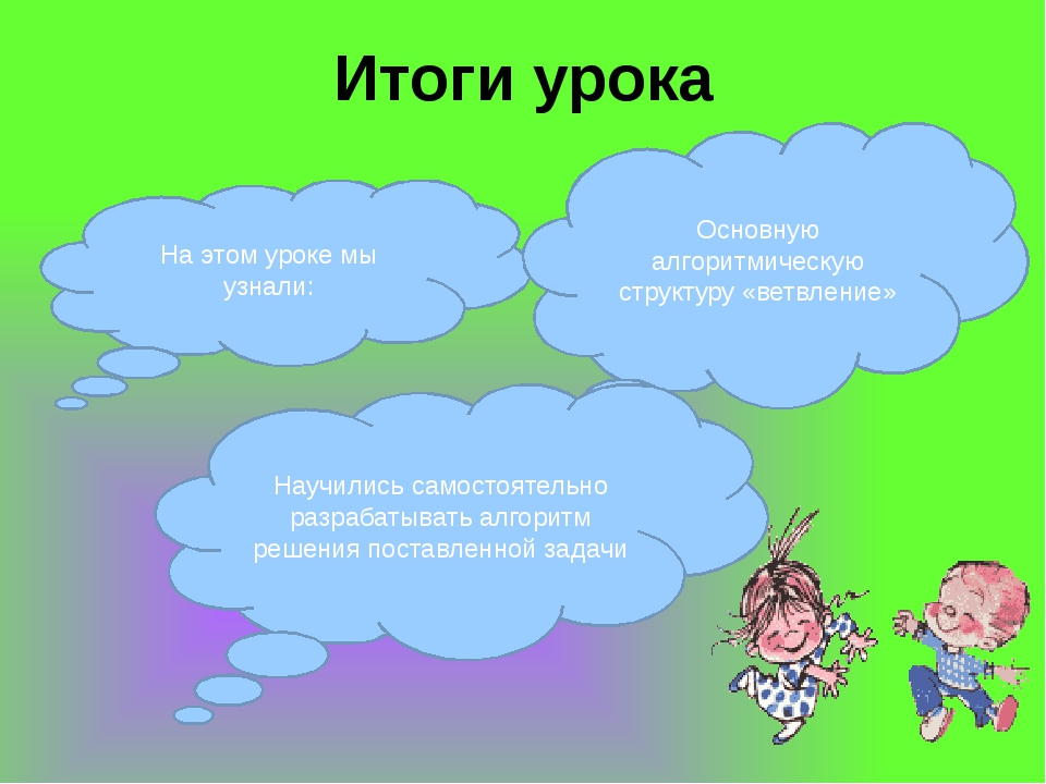 Итоги урока На этом уроке мы узнали: Основную алгоритмическую структуру «ветв...