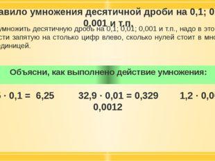 Правило умножения десятичной дроби на 0,1; 0,01; 0,001 и т.п. Чтобы умножить