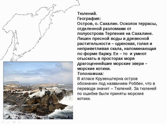 Тюлений. География: Остров, о. Сахалин. Осколок террасы, отделенной разломами...