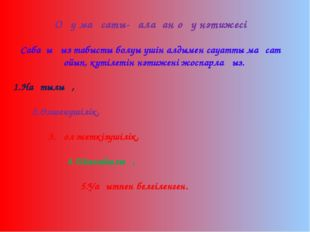 Оқу мақсаты-қалаған оқу нәтижесі Сабағыңыз табысты болуы үшін алдымен сауатты