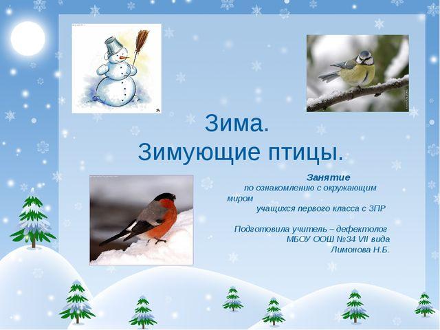 Зима. Зимующие птицы. Занятие по ознакомлению с окружающим миром учащихся пе...