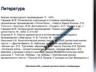Молчанова М.И., учитель русского языка и литературы Литература Анализ литерат