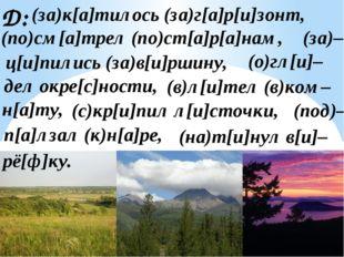 Д: (за)к[а]тилось (за)г[а]р[и]зонт, (по)см[а]трел (по)ст[а]р[а]нам, (за)– дел