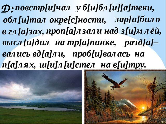 Д: обл[и]тал окре[с]ности, зар[и]било в гл[а]зах, ш[и]л[и]стел на в[и]тру. п[...