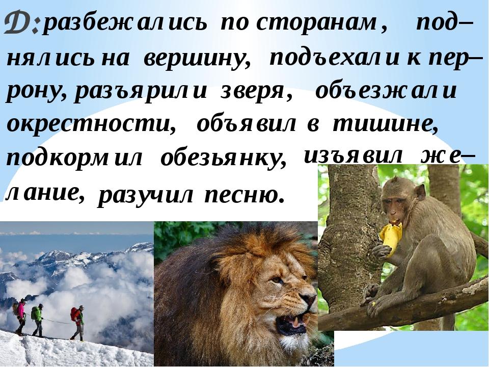 Д: подъехали к пер– нялись на вершину, объезжали объявил в тишине, подкормил...