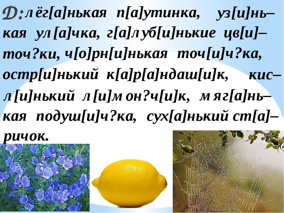 Д: лёг[а]нькая п[а]утинка, г[а]луб[и]нькие цв[и]– ч[о]рн[и]нькая точ[и]ч?ка,...