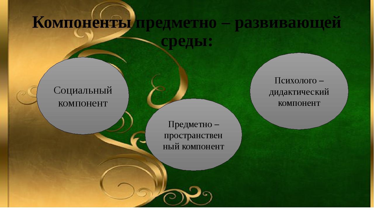 Компоненты предметно – развивающей среды: Социальный компонент Предметно – пр...