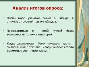 Анализ итогов опроса: Очень мало учеников знают о Тильде, в отличие от русско
